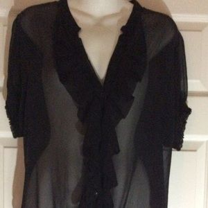 Black Sheer Ruffle The Limited Blouse Size XL